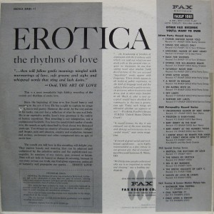 Erotica The Rhythms of Love viny WTF records