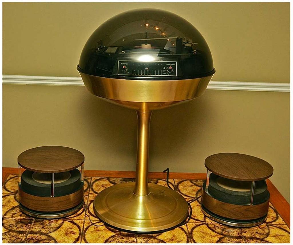 Futuristic turntable 60s midcentury modern